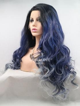 Dark Blue Ombre Long Wavy Synthetic Lace Front Wig SNY219
