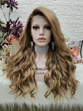 BROWN CURLY LONG SYNTHETIC LACE FRONT WIG SNY301