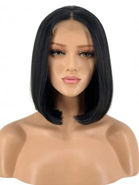 BLACK STRAIGHT BOB SYNTHETIC LACE FRONT WIG SNY143