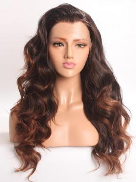 Black Ombre Brown Wavy Long Lace Front Synthetic Wig-DQ034