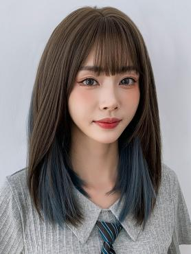 MIXED COLOR MEDIUM LENGTH STRAIGHT SYNTHETIC WEFTED CAP WIG LG366