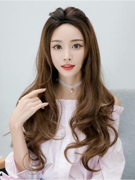 BROWN LONG WAVY SYNTHETIC WEFTED CAP WIG LG308