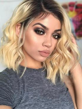 blonde wavy short human hair lace front wig b1