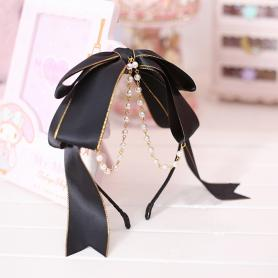 1 PC BLACK ROSETTE SWEET LOLITA HAIR BAND LH032