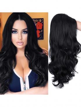 BLACK LONG WAVY MIDDLE PART LACE WIG MPL013