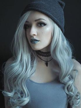 Gray Waist-length Wavy Synthetic Lace Wig-SNY073