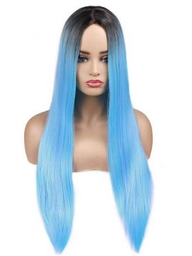 Black to Light Blue Long Straight Synthetic Lace Front Wig SNY146
