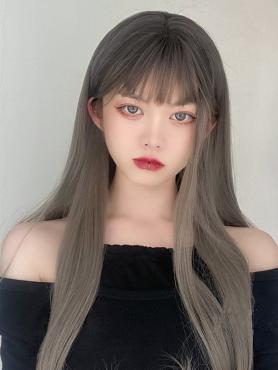 BLACK TO GREY LONG STRAIGHT SYNTHETIC WEFTED CAP WIG LG301