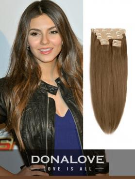 Light Natural Brown indian remy clip in hair extensions SD009