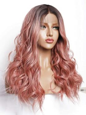 Brown to Peach Long Wavy Synthetic Lace Front Wig SNY148