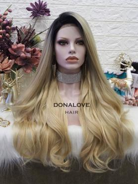 OMBRE CURLY LONG SYNTHETIC LACE FRONT WIG SNY306