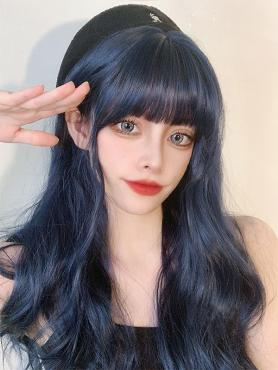DARK BLUE LONG WAVY SYNTHETIC WEFTED CAP WIG LG442