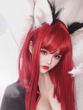 RED STRAIGHT SYNTHETIC WEFTED CAP WIG LG290