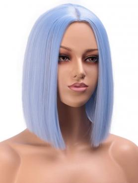 LIGHT BLUE STRAIGHT SHOULDER LENGTH SYNTHETIC LACE FRONT WIG SNY141
