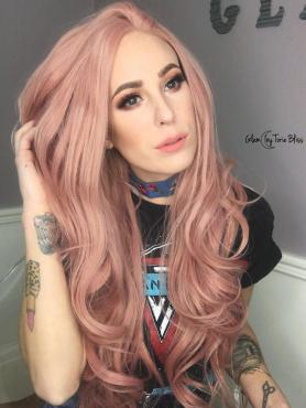 Peach Pink Long Wavy Lace Front Synthetic Wig SNY102