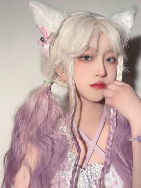 WHITE GRADIENT PURPLE LONG WAVY SYNTHETIC WEFTED CAP WIG LG475