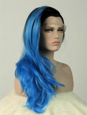 Black to Blue Mermaid Wavy Waist-length Lace Front Synthetic wig-DQ022