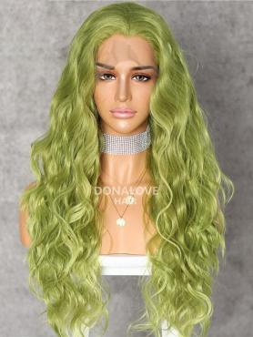 GREEN LONG CURLY SYNTHETIC LACE FRONT WIG SNY221