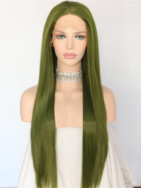 MATCHA GREEN LONG STRAIGHT SYNTHETIC LACE FRONT WIG SNY156