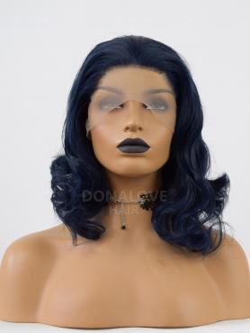 DARK BLUE WAVY SHOULDER LENGTH SYNTHETIC LACE FRONT WIG SNY288