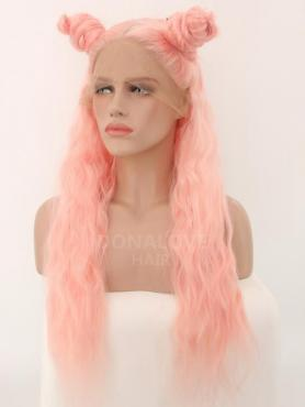 PINK CURLY SYNTHETIC LACE FRONT WIG SNY248