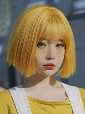 YELLOW BOB STRAIGHT SYNTHETIC WEFTED CAP WIG LG316