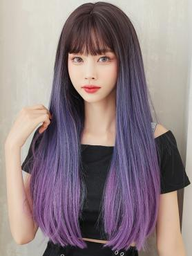 GRADIENT LONG STRAIGHT SYNTHETIC WEFTED CAP WIG LG370