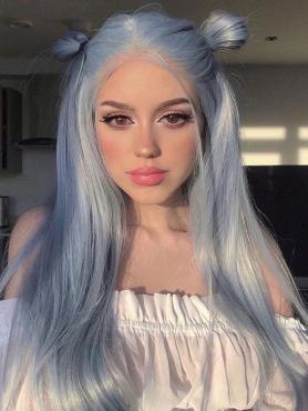 Dusty Blue Long Straight Synthetic Lace Front Wig-SNY033