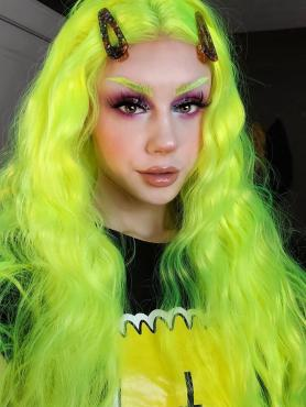 NEON GREEN LONG WAVY SYNTHETIC LACE FRONT WIG SNY300