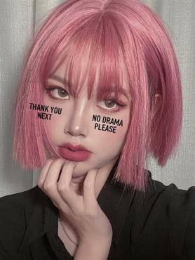 PINK SHORT BOB SYNTHETIC WEFTED CAP WIG LG314
