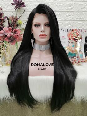 BLACK LONG STRAIGHT SYNTHETIC LACE FRONT WIG SNY302