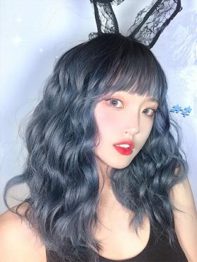 DUSTY BLUE CURLY SYNTHETIC WEFTED CAP WIG LG191