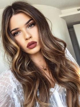 BROWN OMBRE WAVY HUMAN HAIR FULL LACE WIG FLW042