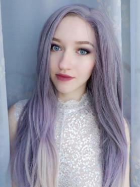 VIOLET OMBRE LONG STRAIGHT SYNTHETIC LACE FRONT WIG SNY238