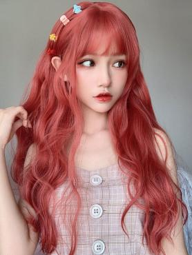 ORANGE RED WAVY SYNTHETIC WEFTED CAP WIG LG323