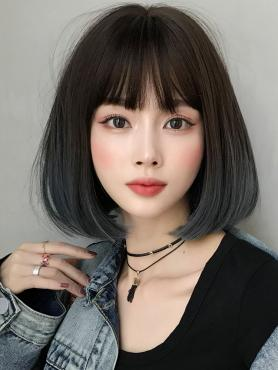Brown to Blue Synthetic Wefted Cap Wig LG041
