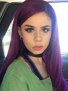 Purple Waist-length Straight Synthetic Lace Wig-SNY016