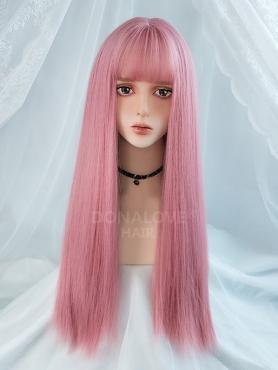 PINK LONG STRAIGHT SYNTHETIC WEFTED CAP WIG LG209