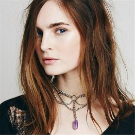 Layered Amethyst Pendant Chain Necklace A012