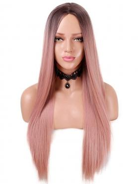 Brown to Peach Long Straight Synthetic Lace Front Wig SNY147