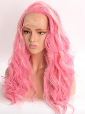 Pink Wavy mid back length Lace Front Synthetic Wig-DQ031