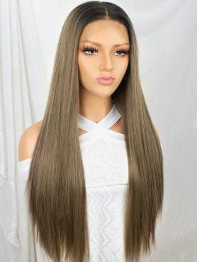 BROWN OMBRE LONG STRAIGHT SYNTHETIC LACE FRONT WIG SNY145