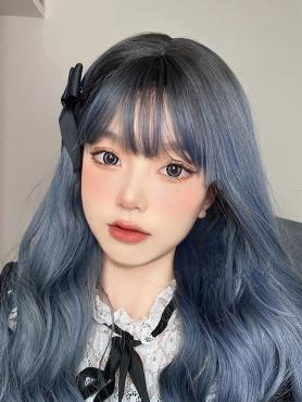 DUSTY BLUE LONG WAVY SYNTHETIC WEFTED CAP WIG LG300