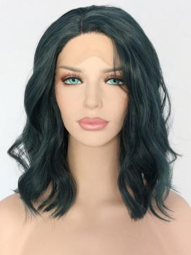 Dark Green Shoulder Length Wavy Synthetic Lace Front Wig SNY152