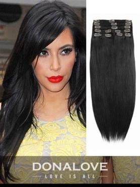 Off Black indian remy clip in hair extensions SD003