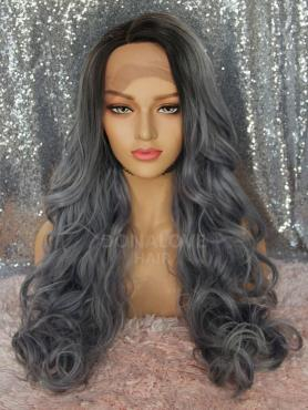 GREY CURLY LONG SYNTHETIC LACE FRONT WIG SNY308