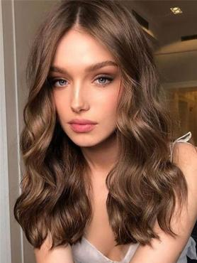 Brown Loose Wavy Human Hair Full Lace Wig FLW023