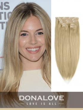 Light Golden Brown indian remy clip in hair extensions SD012
